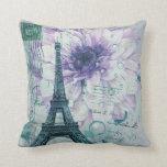 vintage purple floral paris eiffel tower throw pillow