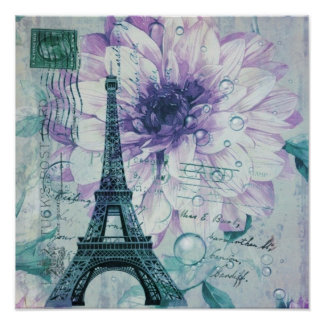 vintage purple floral paris eiffel tower print