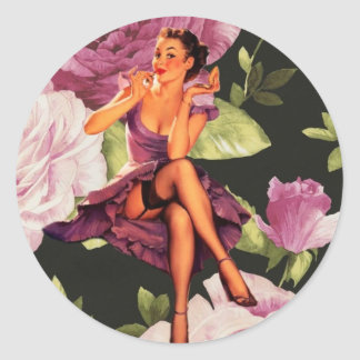 vintage purple floral retro pin up girl classic round sticker