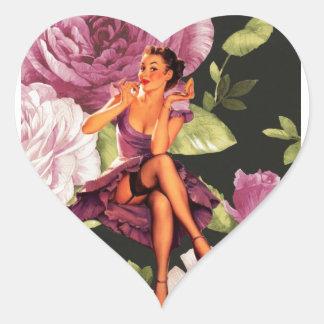 vintage purple floral retro pin up girl fashion heart sticker