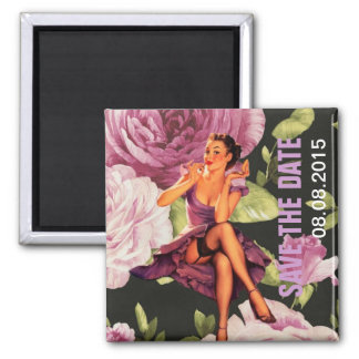 vintage purple floral retro pin up girl magnet