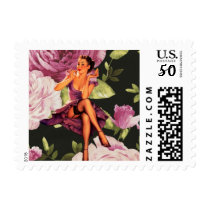 vintage purple floral retro pin up girl postage