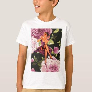 vintage purple floral retro pin up girl T-Shirt