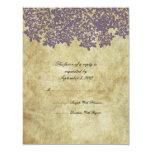 Vintage Purple Floral Wedding RSVP 4.25x5.5 Paper Invitation Card