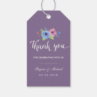 Vintage Purple Floral Wedding Thank You Gift Tag