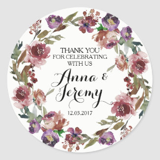 Vintage Purple Floral Wreath Wedding Sticker