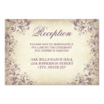 Vintage Purple Flourish Wedding Reception Cards