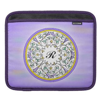 Vintage Purple Flower Blossom Scrol Pattern Sleeve Sleeve For iPads