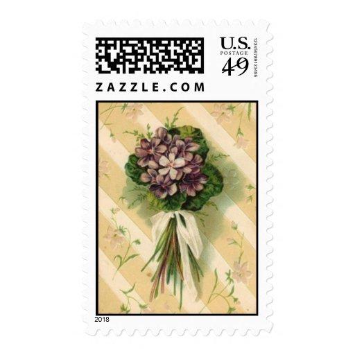 Vintage Purple Flower Bouquet Postage Stamp