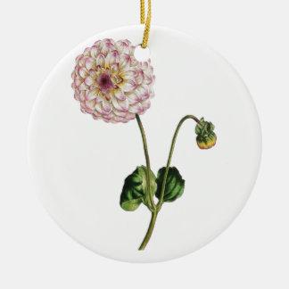 Vintage Purple Flower Ilustration Ceramic Ornament