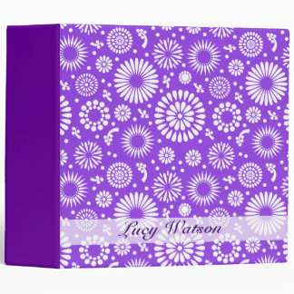 Vintage purple flowers 3 ring binder