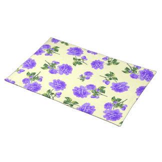 Vintage purple flowers cream cloth placemats