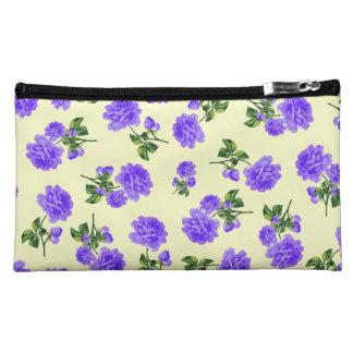 Vintage purple flowers cream cosmetics bag