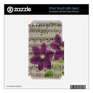 Vintage purple flowers iPod touch 4G decals