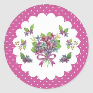 Vintage Purple Flowers Whimsical Envelope Seal Round Stickers