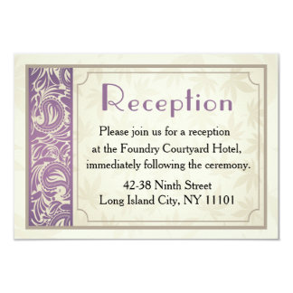 "Vintage Purple & Gray Floral Reception Card 3.5"" X 5"" Invitation Card"