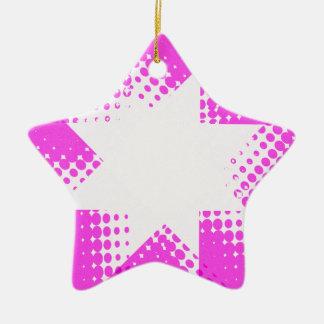 Vintage purple halftone star ceramic ornament