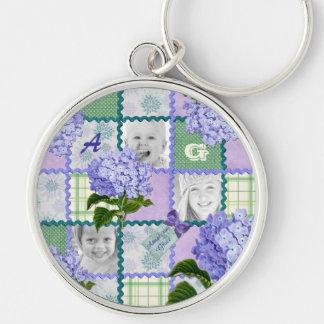 Vintage Purple Hydrangea Instagram Photo Quilt Keychain