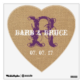 Vintage Purple Initial Burlap Wedding Heart Wall Decal