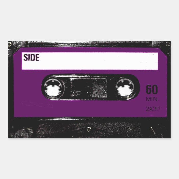 Vintage Purple Label Cassette Rectangular Sticker
