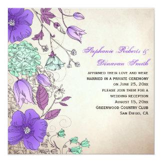 Vintage Purple Lavender Mint Wildflowers Weddings Card