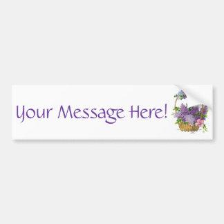 Vintage Purple Lilacs Antique Flower Bouquet Car Bumper Sticker