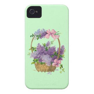 Vintage Purple Lilacs Antique Flower Bouquet Green iPhone 4 Case