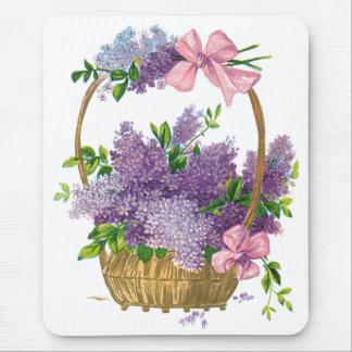 Vintage Purple Lilacs Antique Flower Bouquet Mouse Pad