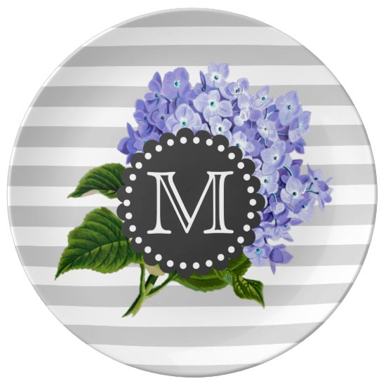 Vintage Purple Lilacs Grey Stripes Monogram Plate