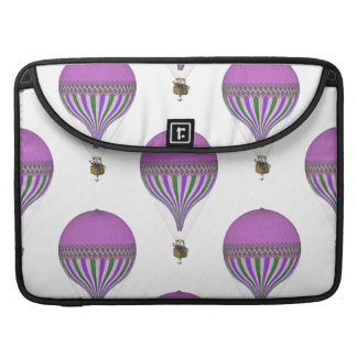 Vintage Purple, Lt Green, White Hot Air Balloons Sleeves For MacBook Pro