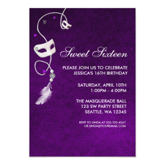 Vintage Purple Masquerade Sweet Sixteen Birthday Custom Announcements