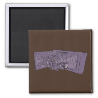 VIntage Purple Old Camera 2 Inch Square Magnet