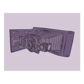 VIntage Purple Old Camera Postcard