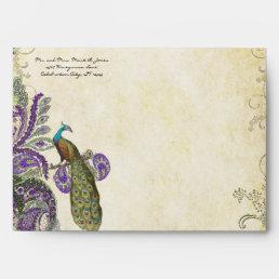 Vintage Purple Paisley Peacock Wedding Envelopes