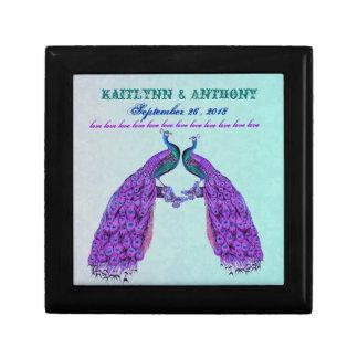 Vintage Purple Peacocks Wedding Keepsake Gift Gift Box