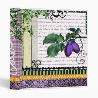 Vintage Purple Plum fruit healthy recipe binder