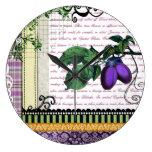 Vintage Purple Plum fruit kitchen clock