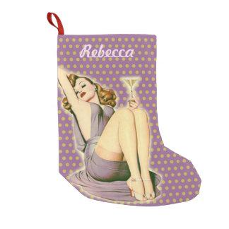 vintage purple polka dots retro pinup girl small christmas stocking