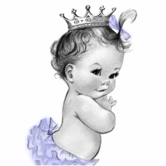 Vintage Purple Princess Baby Girl Shower Photo Cut Outs