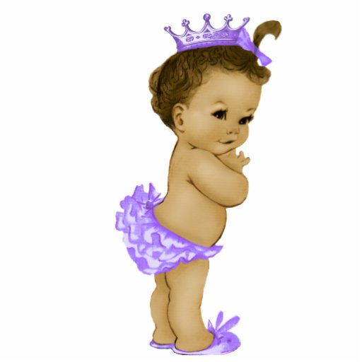 Vintage Purple Princess Baby Girl Shower Acrylic Cut Outs