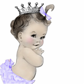Vintage Purple Princess Baby Girl Shower Statuette