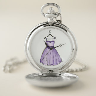 Vintage Purple Prom Dress Fashionista Watercolor Pocket Watch