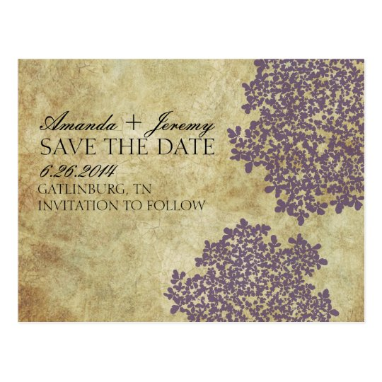 Vintage Purple Queen Anne's Lace Save the Date Postcard
