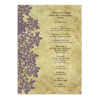 Vintage Purple Queen Ann's Lace Wedding Program 5x7 Paper Invitation Card