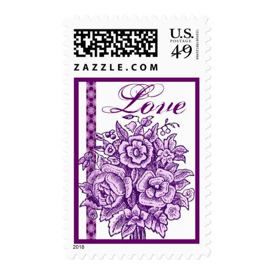 Vintage Purple Rose Bouquet Lace Love Postage