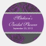 Vintage Purple Rose Bridal Shower Sticker