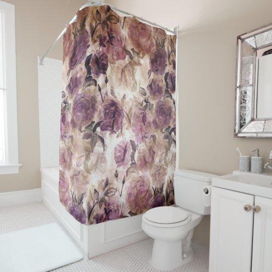 Vintage Purple Rose Print Shower Curtain