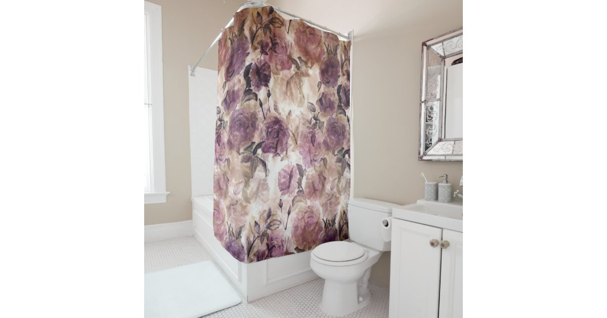 Vintage Purple Rose Print Shower Curtain Zazzle Com