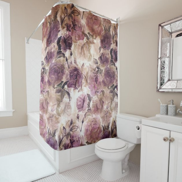 Vintage Purple Rose Print Shower Curtain   Zazzle