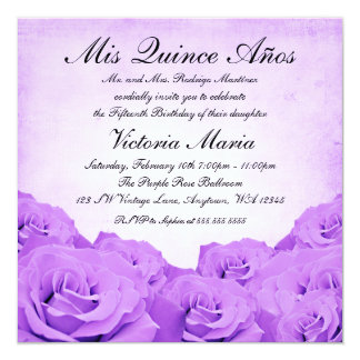 Vintage Purple Rose Quinceanera Birthday Party Card
